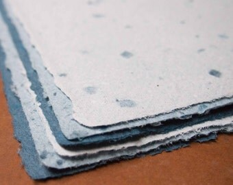 Handmade Recycled Paper - Shades of Blue