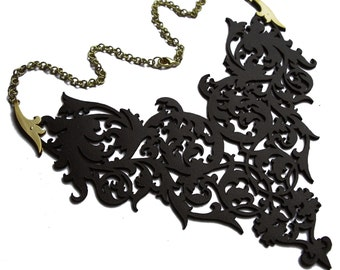 Black Leather Lace and Brass Costume Statement Bib Necklace / Choker - Ornate Floral Scrolls - LADY OF SHADOWS
