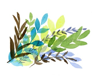 Foliage art Print, leaves watercolor painting, abstract leaves, modern art, turquoise, purple, blue, and green, fresh home deocr