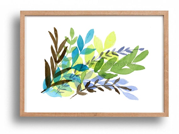 Foliage art Print, leaves watercolor print, abstract leaves print, modern art, turquoise, purple, blue, and green, fresh home deocr