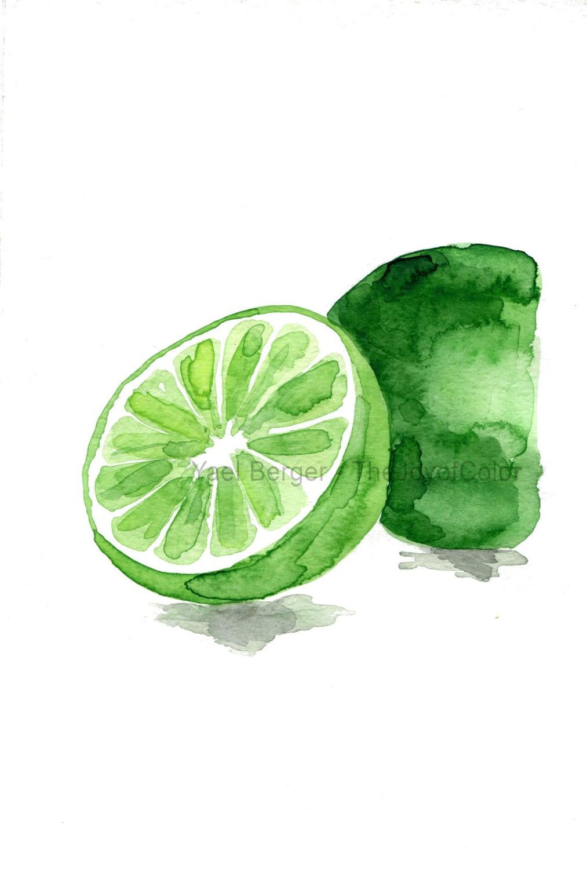 Lime Art Print Lime Watercolor Print Green Citrus By