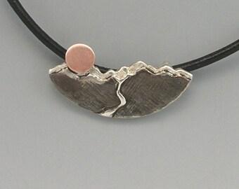 Glacier Pendant Sterling Silver w/Copper and Leather Cord