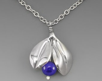Blueberry Sterling Silver Pendant, Lapis
