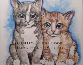 Original Watercolor and Ink Painting of Two Kittens
