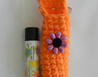 Orange Lip Balm Cozy/ Crocheted Lip Balm Cozy/ Crocheted Orange with Pink Flower Lip Balm Cozy