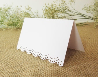 100 Blank- Eyelet Scallop Edge / Tent Place Cards - Escort Cards - Wedding - Reception - Rehearsal Dinner/ Placecards