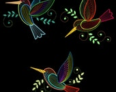 FANCY COLORLINE HUMMERS - 30 Machine Embroidery Designs Instant Download 4x4 5x7 6x10 hoop (AzEB)