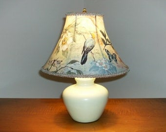 Accent Lamp with Bird and Floral Lampshade