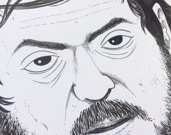 Original Ink Illustration - Stanley Kubrick Portrait