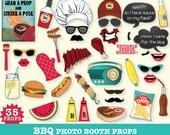 BBQ Photo Booth Props - BabyQ Shower, bbq Birthday, bbq Wedding, bbq Showe - Instant Download pdf - 35 D.I.Y. Printable Props