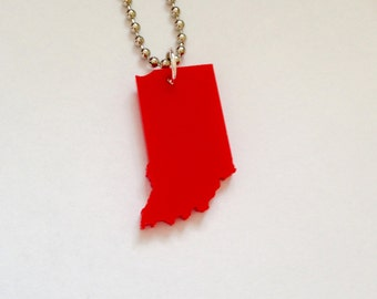 Indiana Necklace, State Jewelry in Red Lasercut Acrylic Plastic