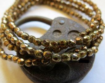 NEW  Golden Bronze Rounds . Czech Picasso Glass Beads (50 beads) 3 mm