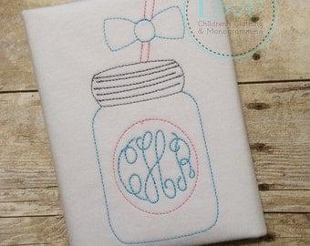 Mason Jar Vintage Embroidered Shirt - Floss Stitch Monogram - Mason Jar Personalized Shirt - Monogram - Summer Shirt - Girl Shirt