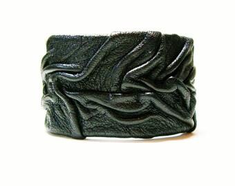 Unisex Black Leather Cuff Bracelet
