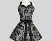Sweetheart Retro Apron - Vintage Classic Elegant Black and Gray Floral Full Kitchen Apron