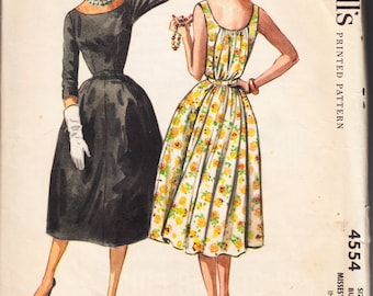 Vintage 1958 McCall's 4554 Sewing Pattern Misses' Dress Size 12 Bust 32