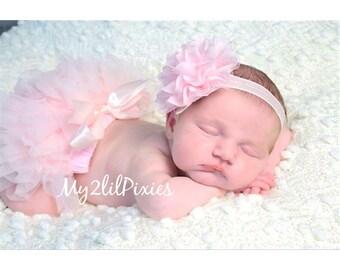 Baby HEADBAND and tutu Bloomers,  baby girl set, Diaper Cover, Light Pink,Baby Girl headband-Newborn Photo Prop- READY to SHIP