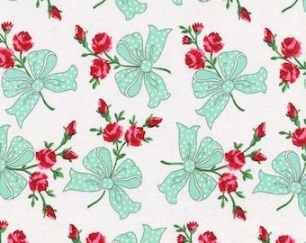 Michael Miller Retro Inspired Cotton Fabric CX6854Aqua Rosebuds and Aqua Bows