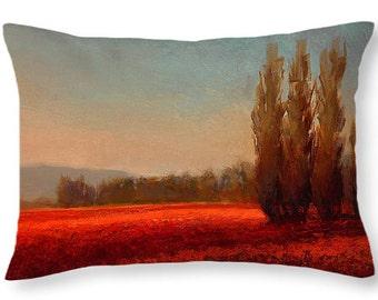 Tulip Field Sunset - Pillow by Karen Whitworth
