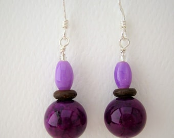 CLEARANCE Earrings, Purple and Brown, E 154 sterling silver