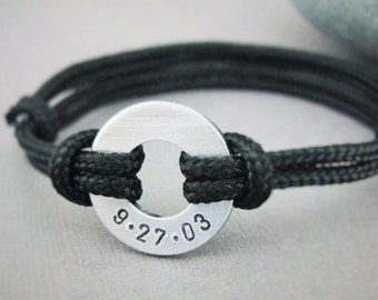 Custom Date Bracelet, Small Aluminum Disc Stamped with your date, Adjustable Nylon Paraline Cord, Men's, Women's, Anniversary, Wedding, Him