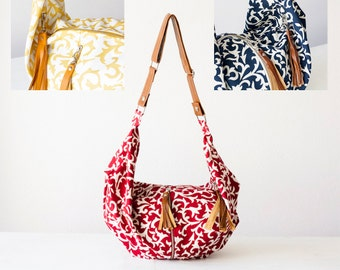 Floral crossbody bag canvas, hobo flower purse crossover bag shoulder slouchy shoulder bag - Crossbody Kallia bag