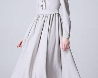 Linen shirt dress, plus size dress, long grey dress, long sleeve maxi dress, custom made dress, maxi dress with sleeves 1178