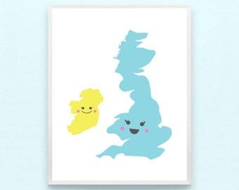 United Kingdom Nursery Art Print - Home Kids Playroom Art, Britain, England, Scotland, Wales, Boys, Girls, Childrens Art, Minimalist, Modern