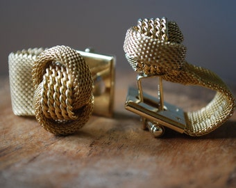 pair of mesh cuff links - 12K gold filled - SIMMONS - Love Knots - Bridal - Groom - Hollywood Regency
