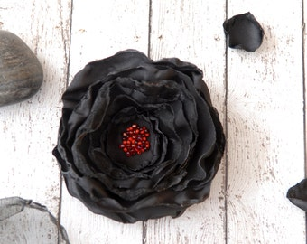 Black Flower Brooch, Flower Pin with Red Seeds, Made to Order