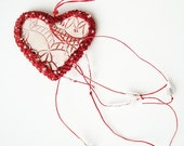 Blood Red Fishnet Valentine Pottery and Fiber Knotted Necklace