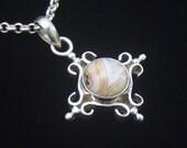 Vintage Silver Necklace, Crazy Lace Agate, Sterling Silver Necklace, Vintage Cross Necklace, Gift For Her, Pendant Necklace, Vintage Agate