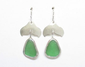 Sea Glass Jewelry - Sterling Green Sea Glass Whale Tail Earrings