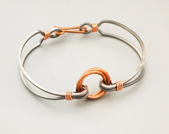 Stainless Steel and Copper Focal Bangle Tutorial