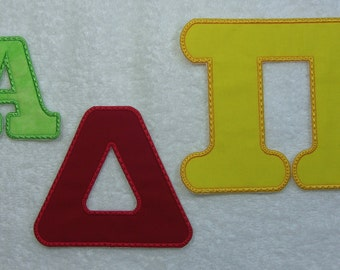 3 Inch Greek Applique Letter/Monogram Fabric Embroidered Iron On Applique Patch MADE TO ORDER