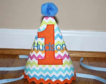 girls first birthday hat, girls 1st birthday hat, blue, orange, lime green, hot pink, cake smash outfit, boys hat, personalized birthday hat