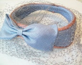 SALE - Midcentury pink and blue hat, 1950s, mauve, bluish gray, with mesh veil