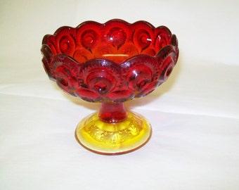 SALE - Vintage Red Glass Pedestal Dish or Candle Holder, 1960s