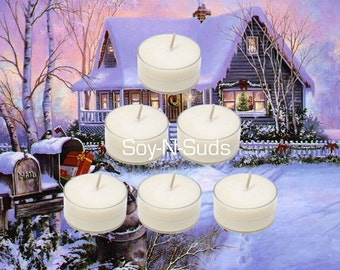 WINTER CABIN // Scented Tea Lights // 6 Pack Homemade Soy Candles // Dye Free