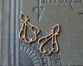 Vintage Oxidized Brass Art Deco Dangle Charms - Tiny Earring Findings