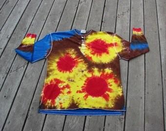 Tie Dye Sunbursts (3XL) Retro Hippie Festival - Long Sleeve Henley