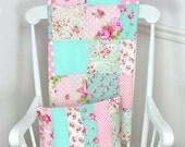 Baby Blanket, Patchwork Blanket, Girl Blanket, Nursery Blanket, Baby Pink, Aqua Blue, Shabby Chic, Nursery Decor, Roses, Flowers, Dots