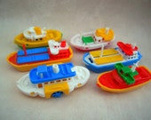 Vintage Plastic Toy Boat Set Made in  W. Germany
