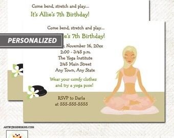 Yoga Girl Any Age Birthday Party Invitation, JPG Digital File or Printed invitations