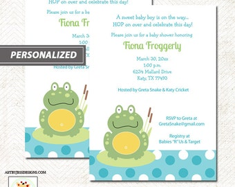 Green Pond Frog Boy Baby Shower Invitations, Frog theme baby shower DIY Printable File