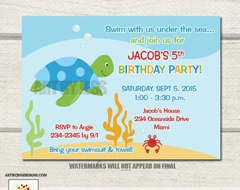 Sea Turtle and Crab Under the Sea Birthday Invitation / Boys Under the Sea Birthday Invite - You Print / Printable
