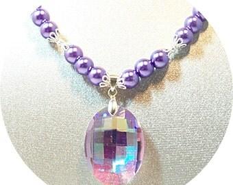 Purple Pendant Necklace, Violet Pearls, Purple Pearls, Purple Necklace, Bridal Necklace, Bridesmaid Necklace, CZ Pendant, Dressy Necklace