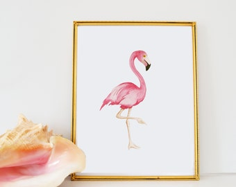 Watercolor Flamingo Silhouette Print