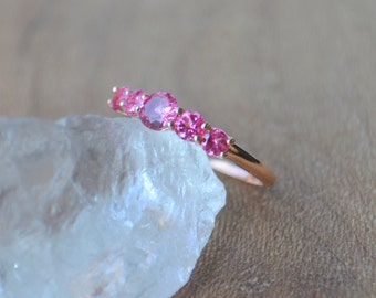 5 Stone Prong Set Ring in Rose Gold with Mahenge Spinel