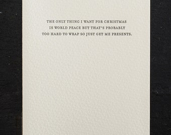 holiday: world peace. letterpress card. red envelope #795
